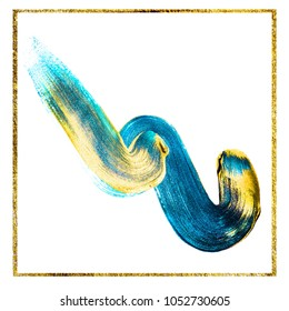 Fashion colors with golden paint. Very beautiful abstract art. Brush strokes on white background.