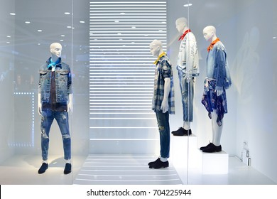 Fashion concept. Photo elegant man mannequins demonstrating clothes.