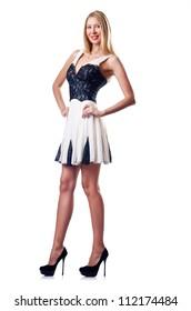 Fashion concept - woman on white