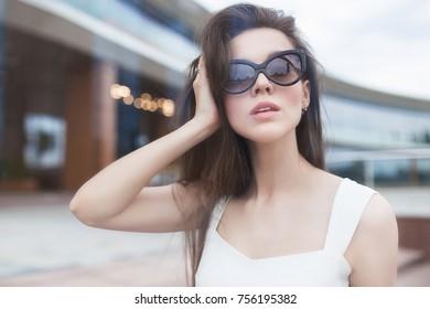 Fashion cool girl in sunglasses