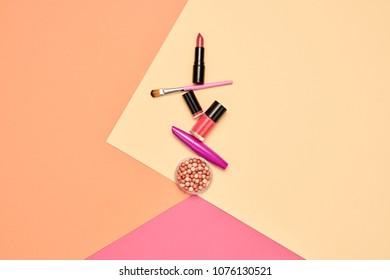 Fashion Cosmetic Makeup Set. Minimal Trendy Design. Woman Beauty Accessories. Essentials. Lipstick, Blush, Nail polish. Creative Bright Color. Art Concept Style.