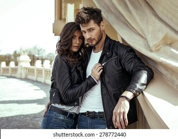 Fashion couple outdoor