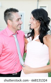 fashion couple in pink in love