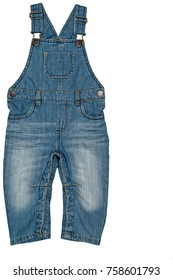 Fashion denim baby jeans (blue jean overall, toddler) isolated on white background for spring and autumn wardrobe/ Baby clothes/ Close-up/ Top view/ Flat