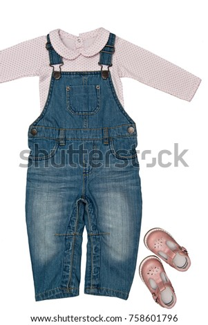 ee162add2 ... toddler) and pink baby-girl bodysuit with cute pink shoes isolated on  white background for spring and autumn wardrobe/ Baby clothes/ Close-up/  Top view ...
