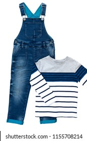 Fashion denim baby pants (blue jean overall) and T-shirt with long sleeves isolated on white background for spring and autumn wardrobe/ Denim kid's wear/ Baby clothes/ Close-up/ Top view/ Flat lay