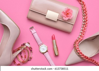 Fashion Design Woman Accessories Set. Pastel Colors.Cosmetic Makeup.Trendy Sunglasses Handbag Clutch. Flat lay. Glamor Luxury shoes Heels. Summer lady. Creative. Art. Minimal