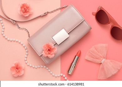 Fashion Design Woman Accessories Set. Coral Colors.Cosmetic Makeup.Trendy  Handbag Clutch. Flat lay. Glamor fashionable Sunglasses. Summer lady. Creative. Art. Minimal