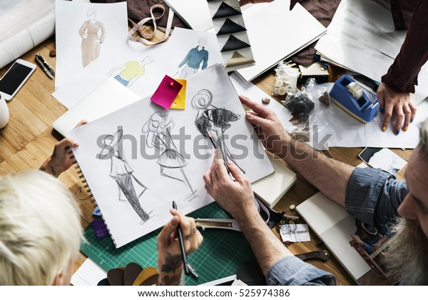 Fashion Designer Sketch Drawing Costume Concept People Stock Image 525974386