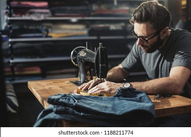 Fashion designer working in his studio