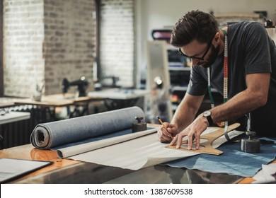 Fashion designer working in his studio