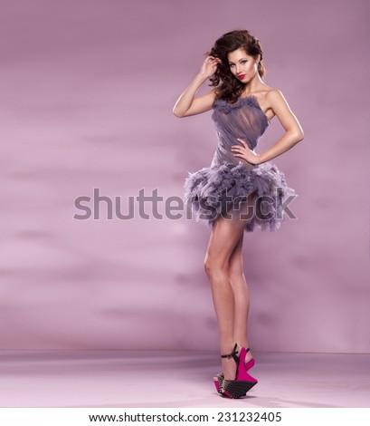 Fashion Dressed Sexy Girl Woman Purple Stock Photo Edit Now