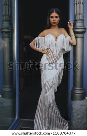 f8b644f85 Fashion dresses on the amaizing young model, brunette, dark eyes, dark  hair, white dress, long hair, stight hair, luxury, evening dress, beauty,  makeup, ...
