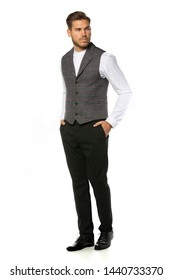 Fashion Elegant Luxury Outfits Looks with Handsome Young Adult Man on White Background Casual Business Gray Vest, Hemd, Trousers