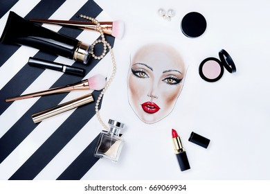 Fashion face chart drawing portrait beauty woman makeup. Cosmetic products and stylish accessory