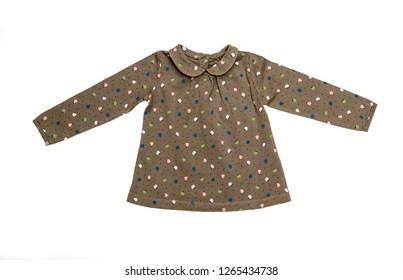 Fashion female child's (baby) clothes (blouse, shirt, T-shirt) isolated on white/ Flat lay/ Top view