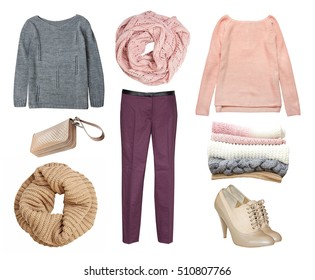 Fashion female knitted warm soft color women's clothe collage.Clothing and accessories isolated on white.