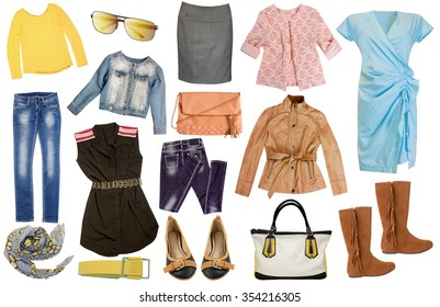 Fashion female set clothes isolated on white. Collage of women spring summer casual clothing.