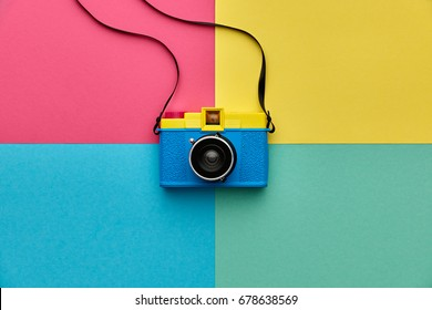 Fashion Film Camera. Hot Summer Vibes. Pop Art. Creative Retro Design. Hipster Trendy Accessories. Sunny Still life. Bright Sweet Style. Surreal, Minimal fashionable Fun. Bpight summertime Color