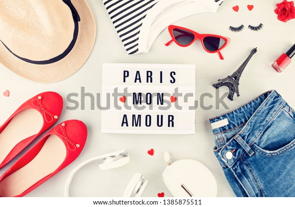 Fashion Flat Lay French Style Girls Stock Photo Edit Now 1385875511
