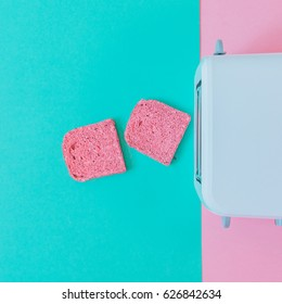 fashion food set of breakfast or another meal: two pink toast springing from the toaster
