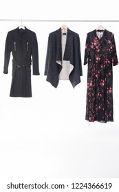 fashion fur clothes and floral print long sundress, black clothes for females on hanging