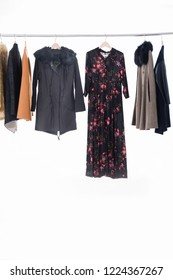 fashion fur clothes ,jacket and floral print long sundress for females on hanging