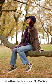 Fashion girl at autumn forest.