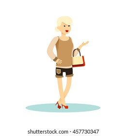 Fashion girl with bag. Character cute woman smiling flat style.