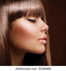 Fashion Girl. Beautiful Makeup and Healthy Hair