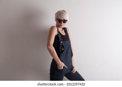fashion girl blonde with short hair