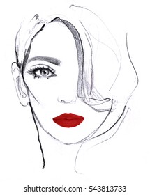 Fashion girl illustration. Hand drawn portrait of a young woman model face with red lips isolated on white background. White and black art pencil sketch, pink marker, watercolor.