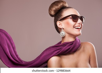 fashion girl with a purple scarf, wearing sunglasses, updo