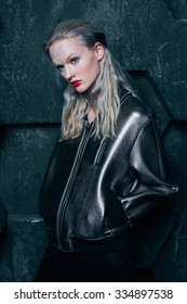 Fashion girl in the silver bomber