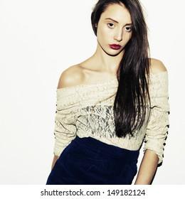 Fashion girl. Studio shot.