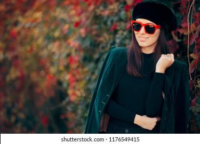Fashion Girl Wearing Velvet Jacket and Beret in Autumn. Beautiful fashionable model wearing, sunglasses
