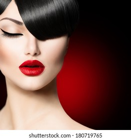 Fashion Glamour Beauty Girl With Fringe Hairstyle and Beauty Makeup.