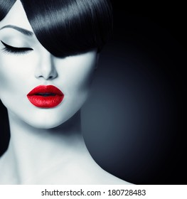 Fashion Glamour Beauty Girl With Fringe Hairstyle and Beauty Makeup. Model Girl Portrait. Hair Style. Haircut.