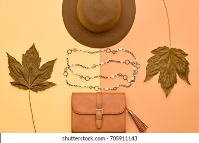 Fashion Glamour Lady Look.Trendy Handbag Clutch. Stylish Hat. Fall Leaves. Autumn Minimal. Vanilla Pastel colors. Vintage