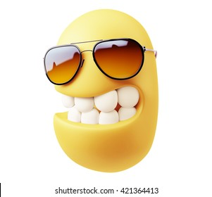 Fashion Glasses Look Emoticon Face. 3d Rendering.