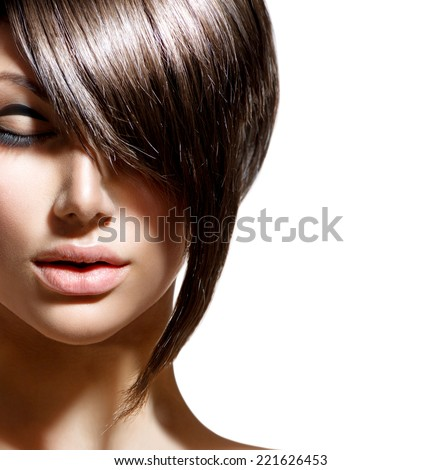 Foto Stock De Fashion Haircut Hairstyle Stylish Fringe Short Editar