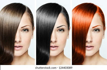 fashion hairstyle collage , natural long shiny healthy hair