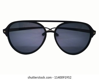 Fashion and healthcare concept, black lens of sunglasses with black frame. Isolated on white background, copy space and clipping path.