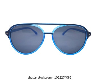 Fashion and healthcare concept. Blue sunglasses with a frame of black-blue plastic. Isolated on white background, copy space and clipping path.