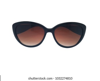 Fashion and healthcare concept. Brown lens of sunglasses with black frame. Isolated on white background, copy space and clipping path.