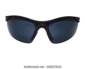 Fashion and healthcare concept. Gray lens of sunglasses with black plastic frame. Isolated on white background, copy space and clipping path.
