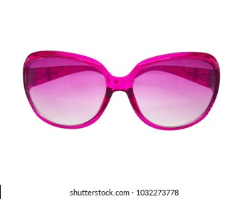 Fashion and healthcare concept.Pink lens of sunglasses with pink plastic frame. Isolated on white background, copy space and clipping path.