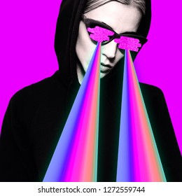 Fashion hipster girl with rainbow lasers from eyes.  Minimal collage art