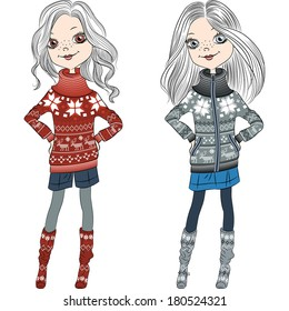 fashion hipster girls in knitted sweaters with Norwegian seamless pattern