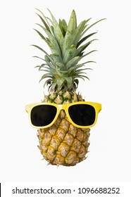 Fashion hipster pineapple, Bright summer color, Tropical fruit with sunglasses, Creative art concept, Minimal style, Hot beach vibes isolated on a white background